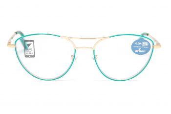 Airport Ready Reader-1865 2273 Bluegreen/Gold with Blue Light Filter